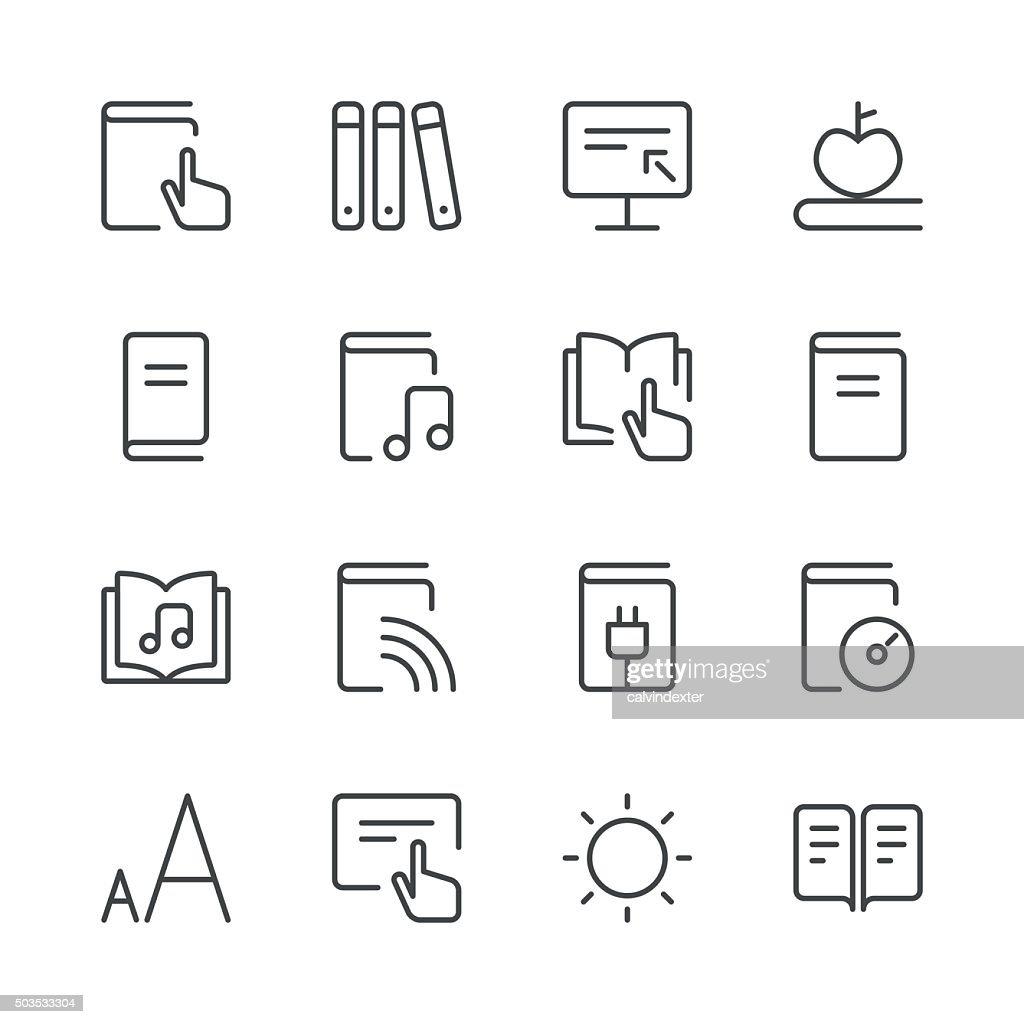 Literature and e-reading icons set 2 | Black Line series : stock illustration