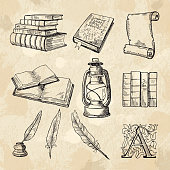Literature concept pictures. Vintage hand drawings books and different tools for writers