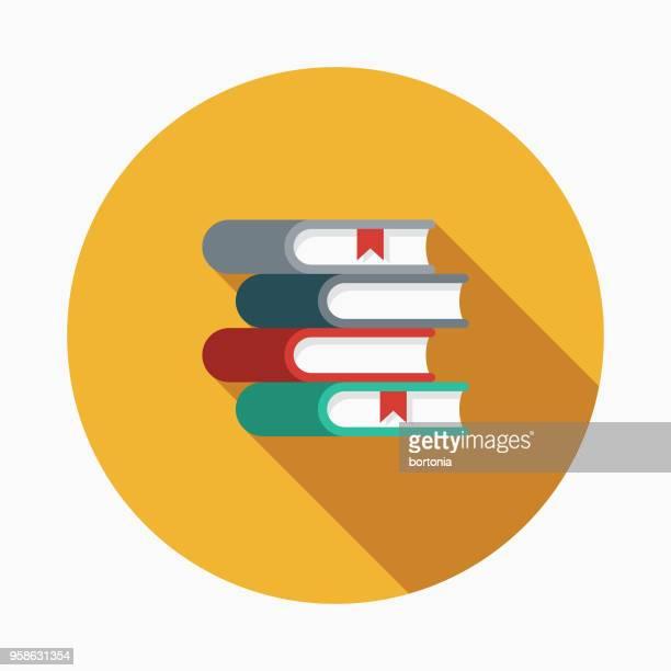 ilustrações, clipart, desenhos animados e ícones de ícone de artes design plano literatura com sombra do lado - livro de capa dura