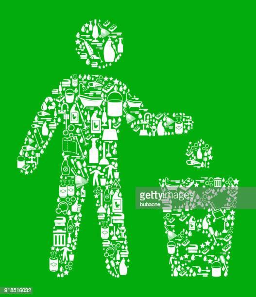 ilustraciones, imágenes clip art, dibujos animados e iconos de stock de litering limpieza fondo verde patrón - tirar basura