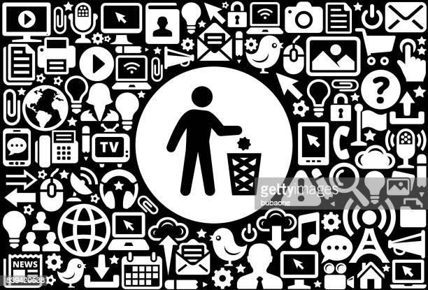 ilustraciones, imágenes clip art, dibujos animados e iconos de stock de fondo de tecnología de internet de litering icono blanco y negro - tirar basura