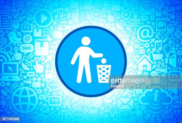 ilustraciones, imágenes clip art, dibujos animados e iconos de stock de litering icono fondo de tecnología de internet - tirar basura
