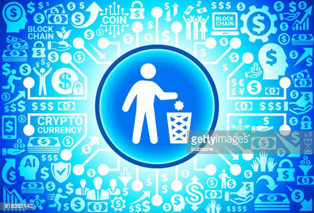 litering   icon on money and cryptocurrency background - flipping a coin stock illustrations, clip art, cartoons, & icons