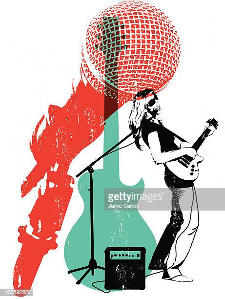litho musician - guitarist stock illustrations