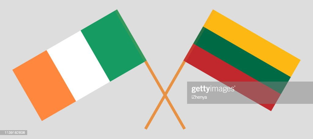 Lithuania and Ireland. The Lithuanian and Irish flags. Official colors. Correct proportion. Vector
