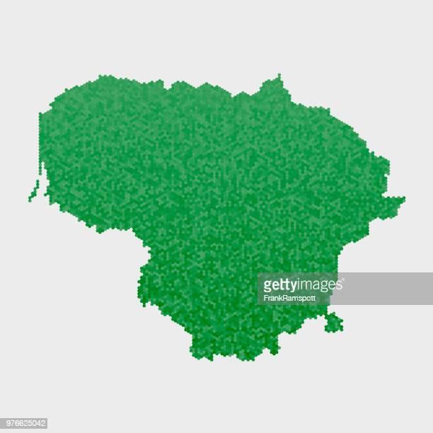 Litauen Land Map grünen Sechseck-Muster