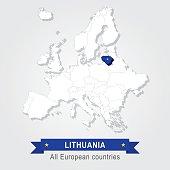Lithuania. Europe administrative map.