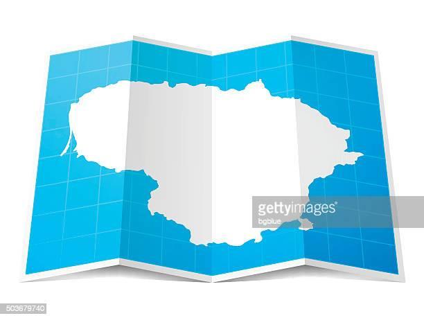 Lithuania Map folded, isolated on white Background