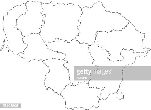 Lithuania Simple Blue Map On White Background Vector Art Getty - Lithuania map vector