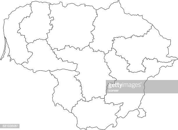 lithuania map outline white background - balkans stock illustrations, clip art, cartoons, & icons