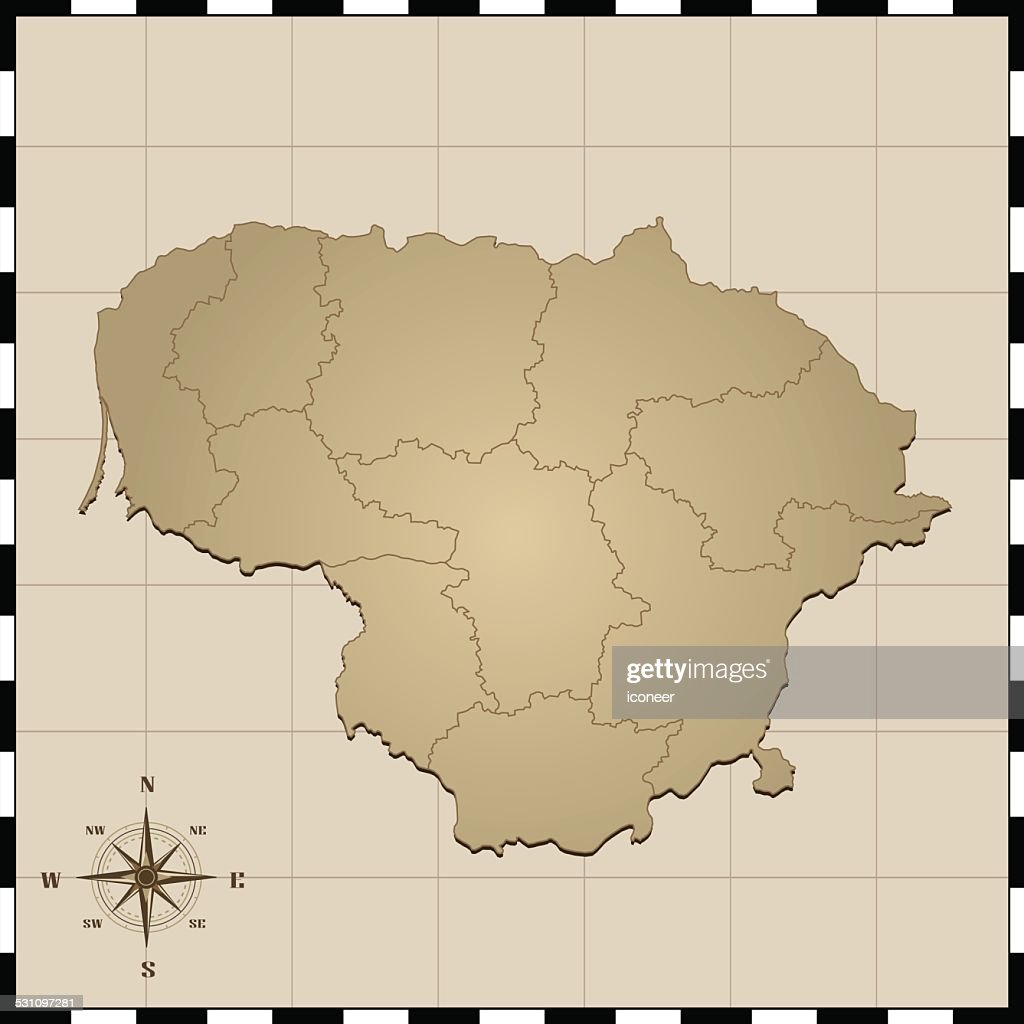 Lithuania Map With Compass Rose Vector Art Getty Images - Lithuania map vector