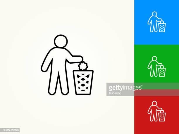 ilustraciones, imágenes clip art, dibujos animados e iconos de stock de tirar el icono lineal de movimiento negro - tirar basura