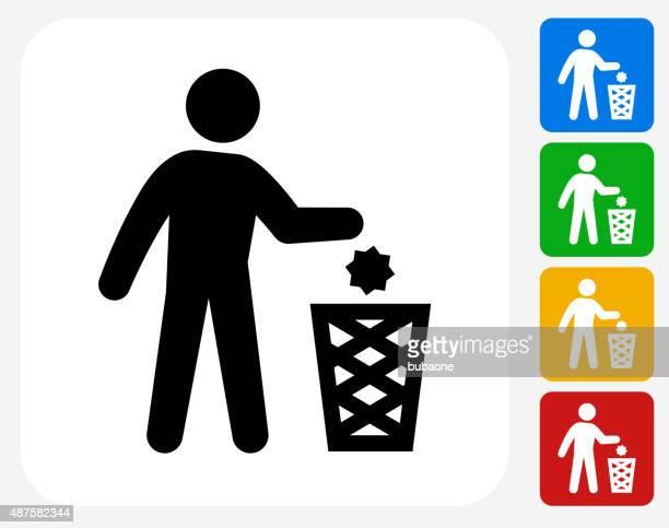 ilustraciones, imágenes clip art, dibujos animados e iconos de stock de iconos de diseño gráfico littering plana - tirar basura