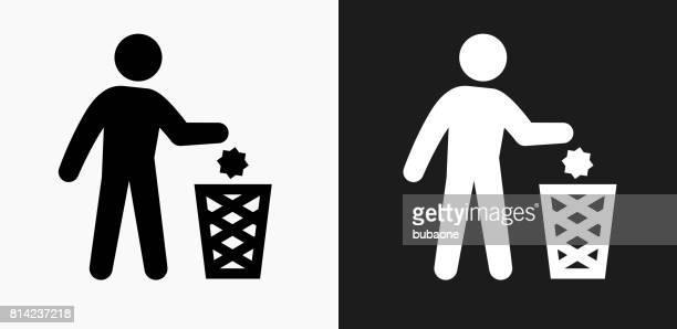 ilustraciones, imágenes clip art, dibujos animados e iconos de stock de tirar el icono en blanco y negro vector fondos - tirar basura