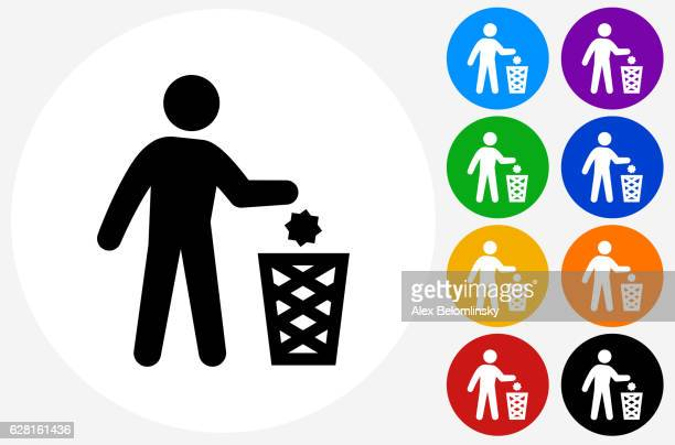 ilustraciones, imágenes clip art, dibujos animados e iconos de stock de littering icon on flat color circle buttons - tirar basura