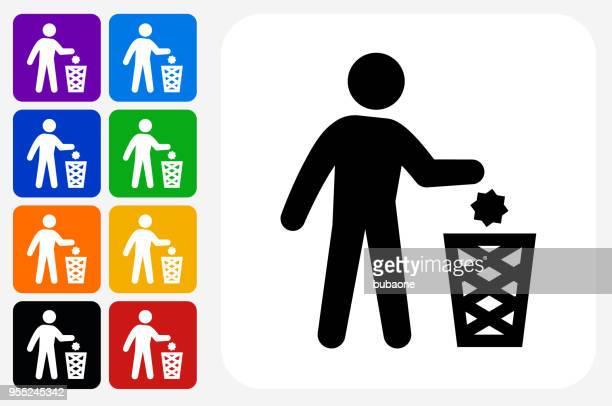 ilustraciones, imágenes clip art, dibujos animados e iconos de stock de grupo de botones de icono cuadrado arrojar residuos - tirar basura