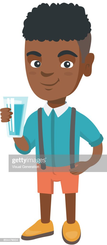 Little african boy holding a glass of water