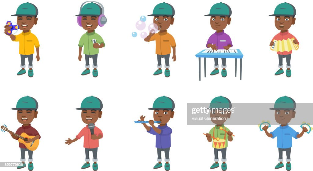 Little african boy vector illustrations set