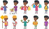 Little african girl vector illustrations set
