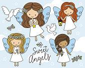 Little Angels in White Dress Vector Illustration