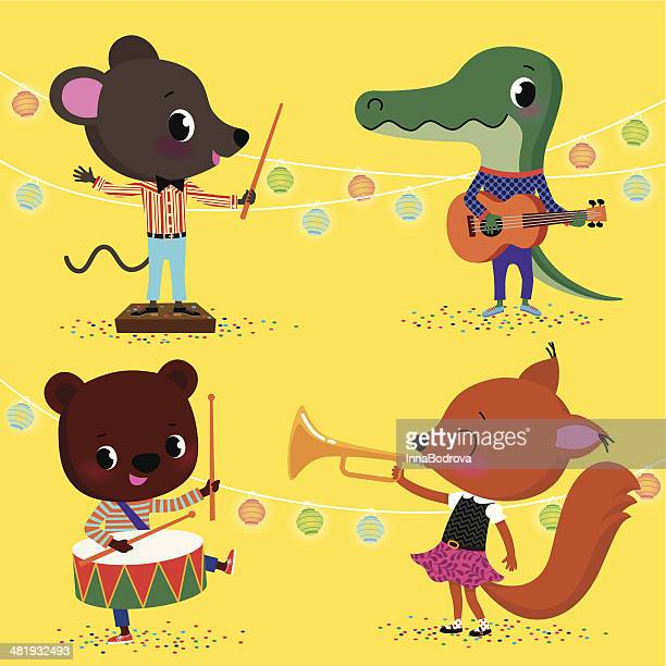 little animals orchestra. - cute mouse stock illustrations