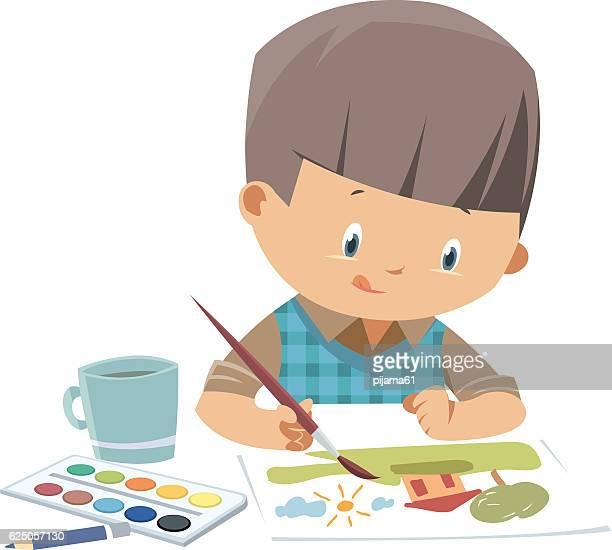 illustrations, cliparts, dessins animés et icônes de little artiste - peindre
