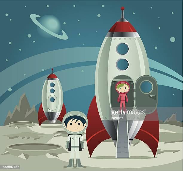 little astronaut - astronaut stock illustrations, clip art, cartoons, & icons
