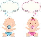 Little baby boy and baby girl