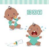 Little baby boy with milk bottle