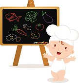 Little baby chef. Baby girl with board.