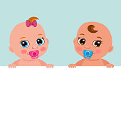 Little Baby Girl And Boy Holding Banner Board. Blank Banner Vector Illustration.