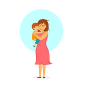 little baby son hugging mom cute sweet happy mother day isolated vector illustration scene