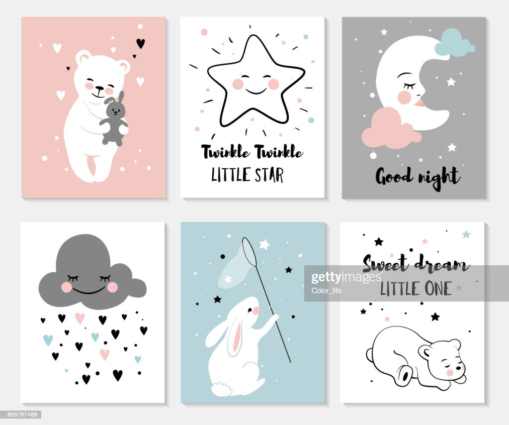 Little bear, rabbit, moon and star.