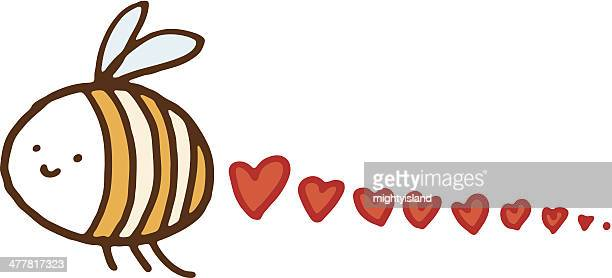little bee with trail of love hearts - bumblebee stock illustrations, clip art, cartoons, & icons