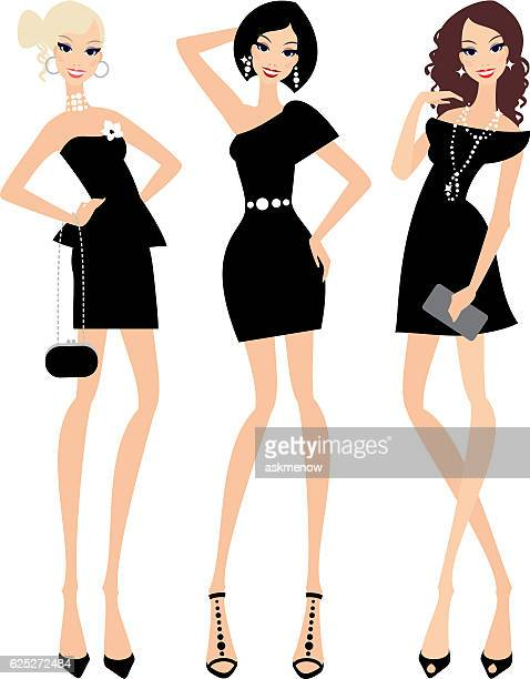 little black dress - only women stock illustrations, clip art, cartoons, & icons