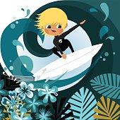 Little blonde surfer. Surfing. Beach boy