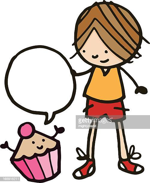 little boy and cupcake - making a cake stock illustrations, clip art, cartoons, & icons
