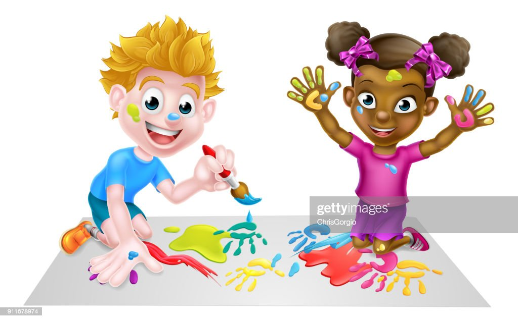 Little Boy and Girl Painting
