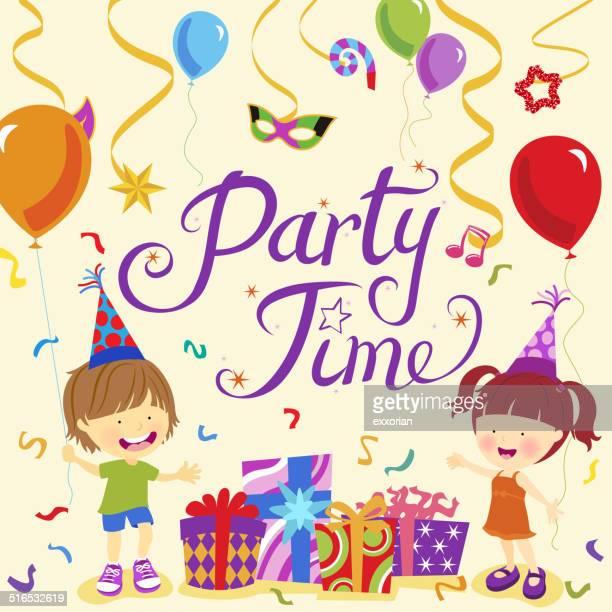 illustrazioni stock, clip art, cartoni animati e icone di tendenza di piccolo ragazzo e ragazza festeggia il partito rifiuti tempo - maschere carnevale