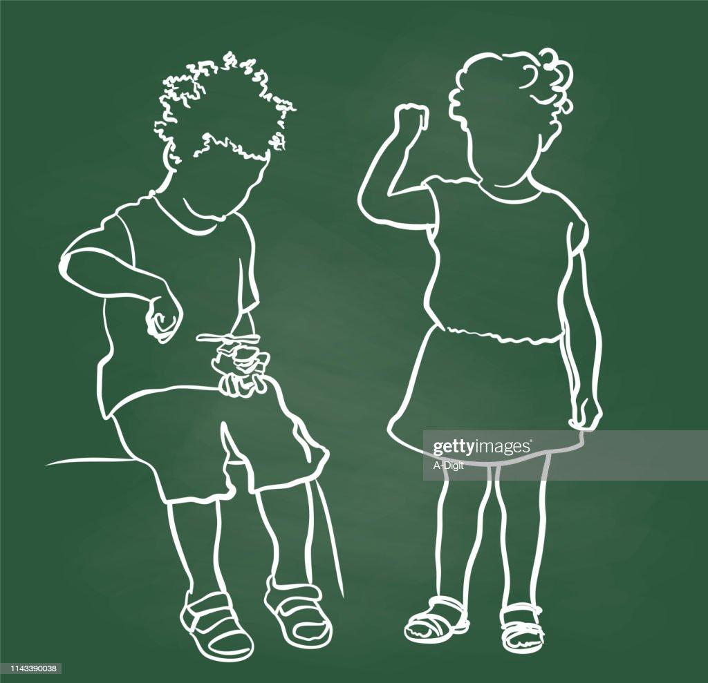 Little Boy And Little Girl Chalkboard : Stock Illustration