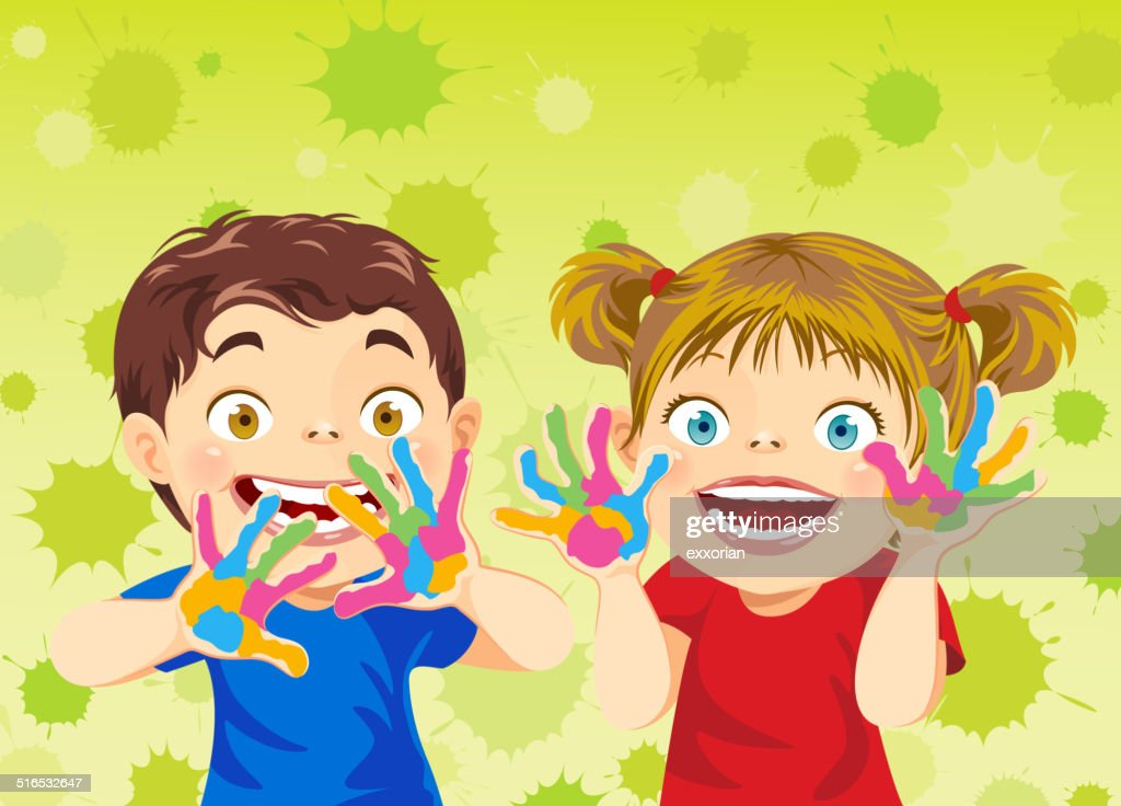 Little Boy and Little Girl Showing their Painting Hands