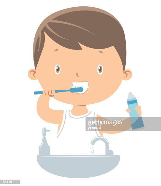 little boy brushing teeth - brushing teeth stock illustrations
