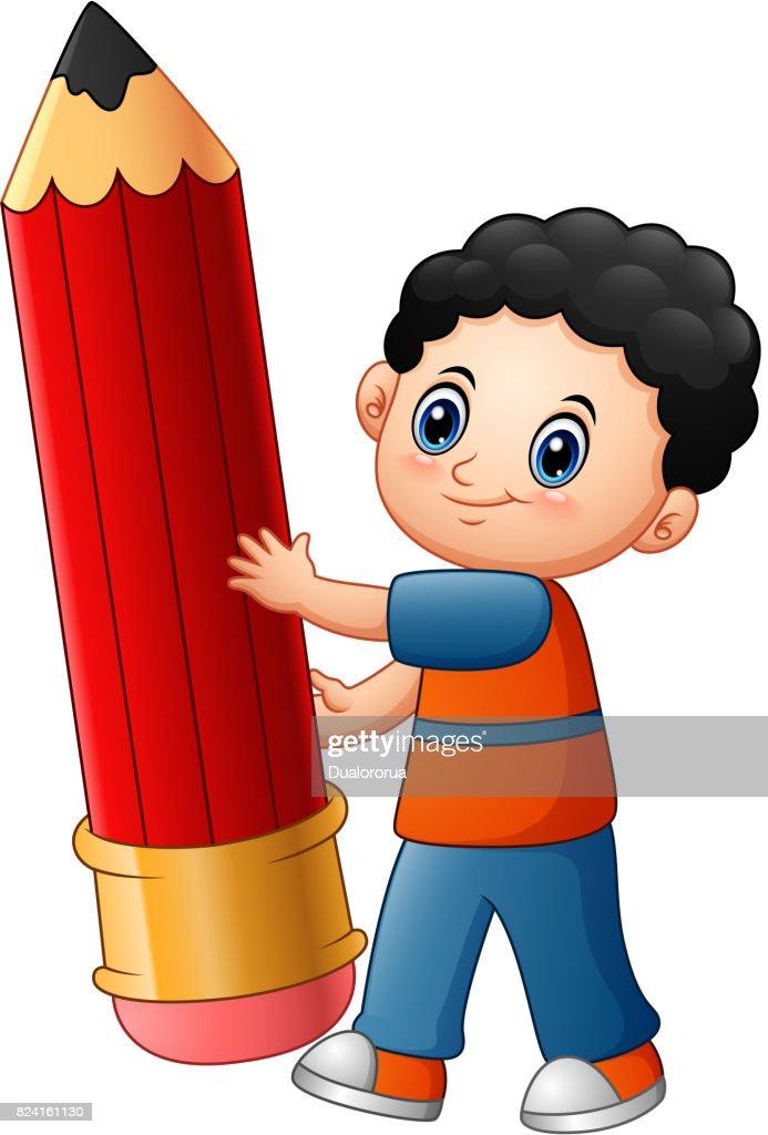 Little boy cartoon holding a pencil