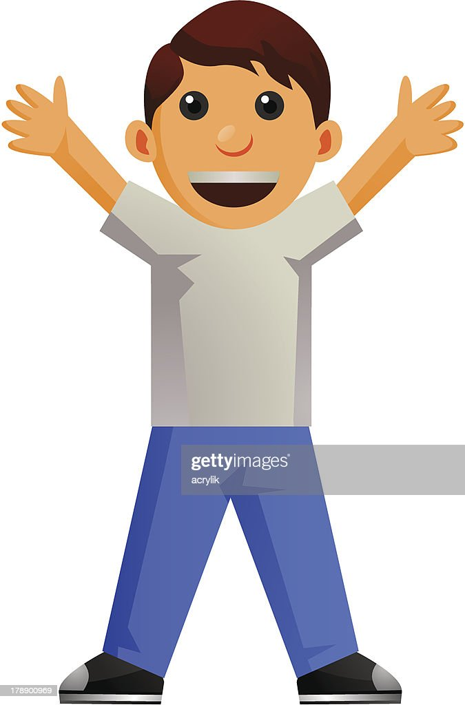 Little Boy Cartoon standing with arms wide open