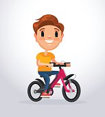 Little boy character riding bike. Vector flat cartoon illustration