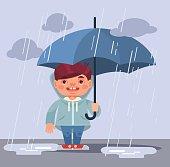 Little boy character under rain