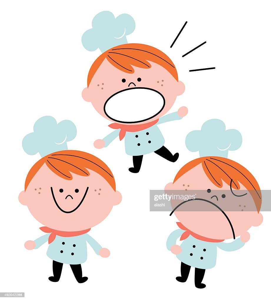 Little boy chef in uniform, emotion set, red hair