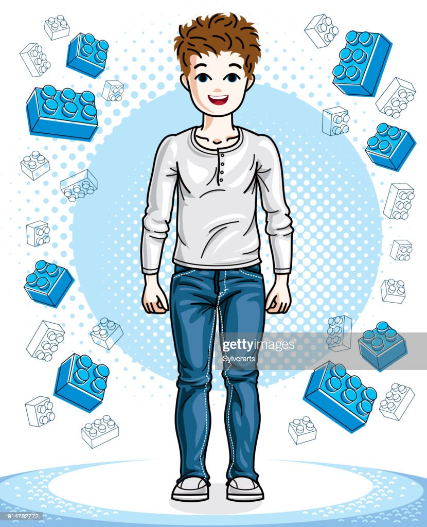 Little boy cute child standing wearing fashionable casual clothes. Vector human illustration. Fashion and lifestyle theme cartoon.