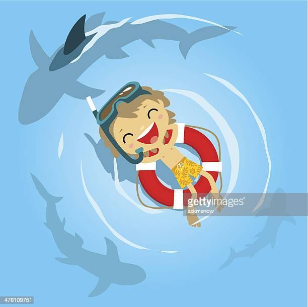 little boy diver in danger - diving flipper stock illustrations, clip art, cartoons, & icons