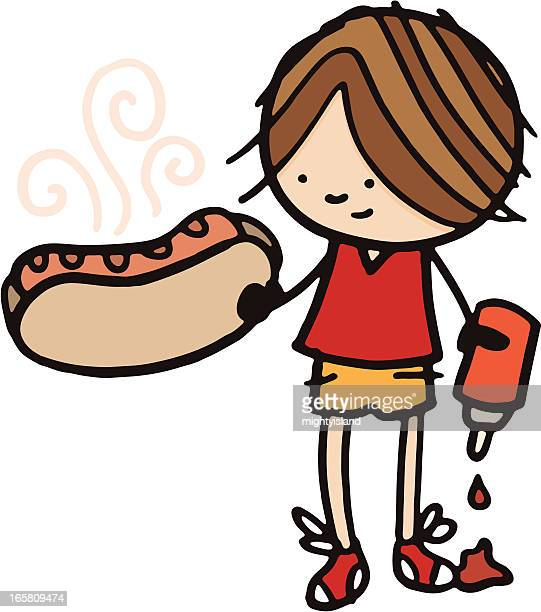 little boy holding a large hot dog and ketchup - ketchup stock illustrations, clip art, cartoons, & icons
